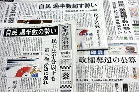 12.6 新聞各紙 自民過半数観測