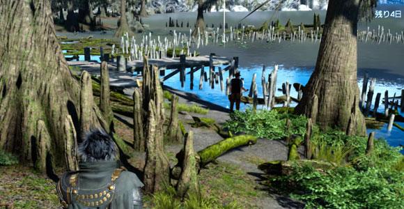 FF15「ファイナルファンタジーXV」のサブクエスト「ネイヴィスへの挑戦」紹介。クレイン地方のヴェスペル湖で発生するネイヴィスシリーズ3つめ。釣りレベル上げの