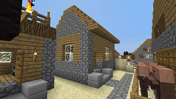 元のNPC村にもある本棚がある集会所的な建物も建てました。