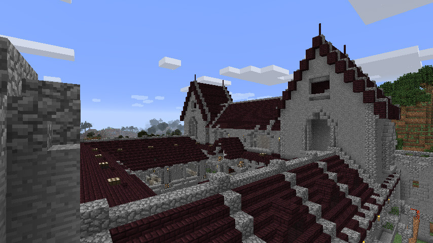 マインクラフト建築 ネザーレンガ屋根の城