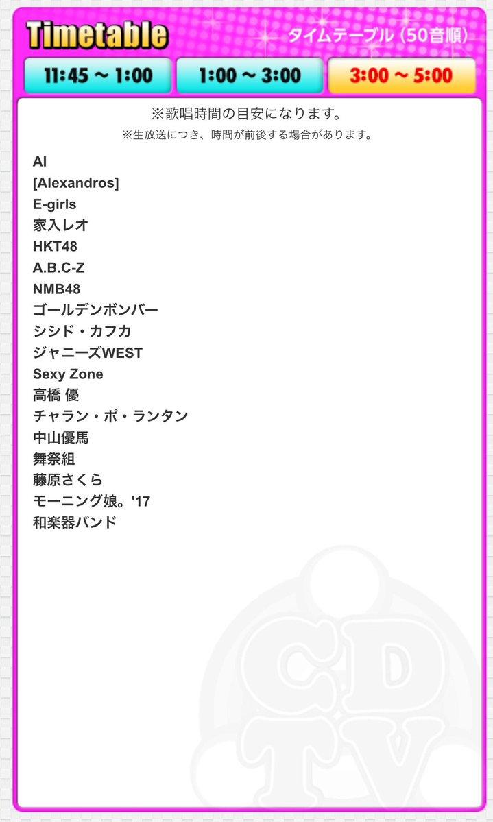 タイムテーブル カウントダウンtv 今日 CDTVライブライブ順番今日【5/3】タイムテーブルや出演者/曲目!JO1やジャニーズWESTはいつから?