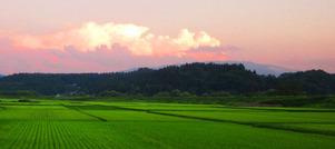 田園風景横長夕暮れ
