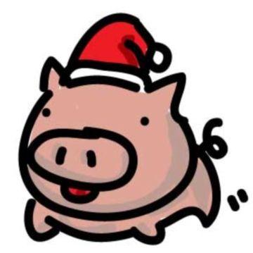 豚クリスマスのイラスト