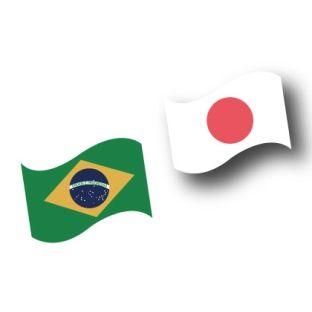 ブラジルと日本の国旗