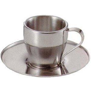 キャプテンスタッグ(CAPTAIN STAG) アルゴ Wステンコーヒーカップ&ソーサー 80ml MK-4136