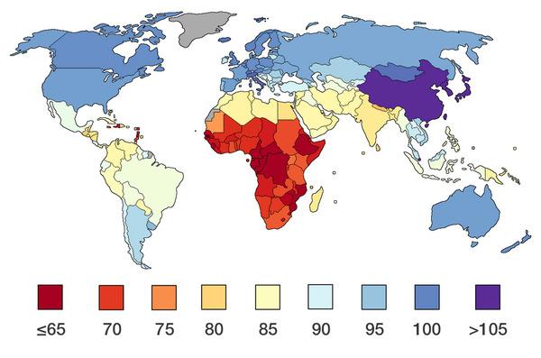 世界のIQ分布